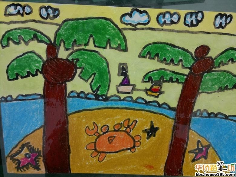 画面里的蓝天白云,美丽的椰子树,碧蓝的长江水,漂泊着的帆船,可爱有趣