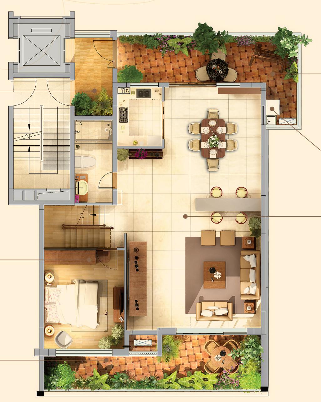 8米客厅双挑高,9.4米总开间丰富居住空间,给人的第一印象就是大气.