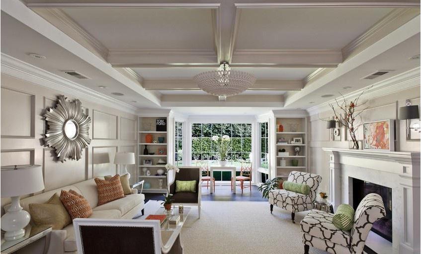 欧式客厅石膏板吊顶效果图 30平客厅装修效果图 时尚空间高清图片