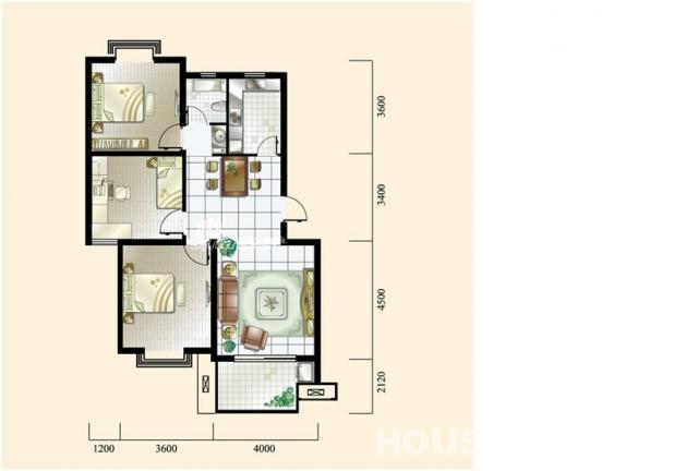 农村40平米两间平房屋内设计图展示