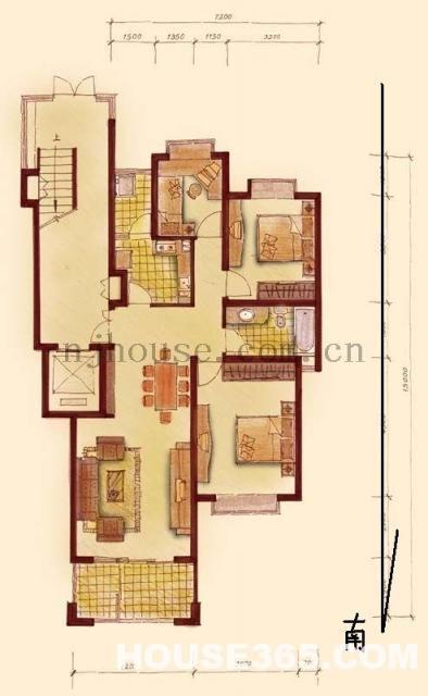 一楼三房设计图