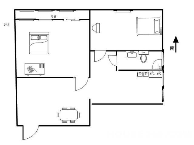 金鹏大厦2室1厅1卫65平米整租豪华装