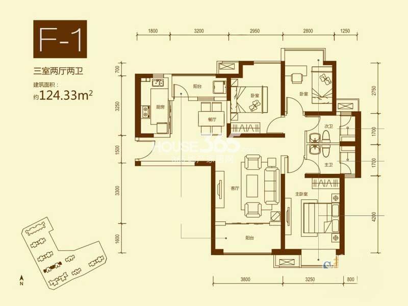 海伦国际34#楼F-1户型3室2厅2卫1厨 124.33㎡