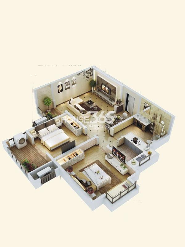 阳光城西西里C2户型立体图2室2厅1卫1厨 78.00㎡