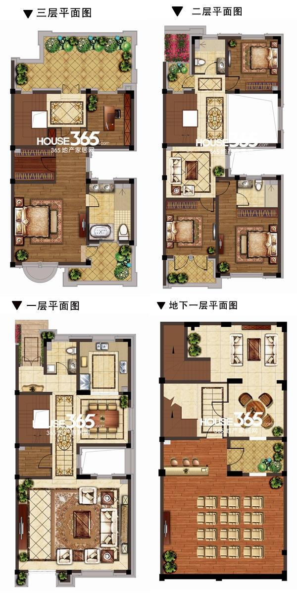 别墅H户型图