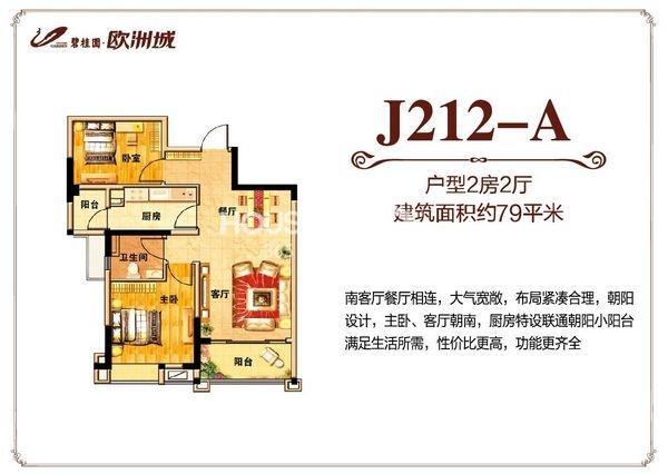 碧桂园欧洲城79平米J212-A户型图