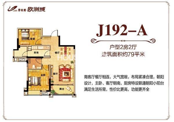 碧桂园欧洲城79平米J192-A户型图