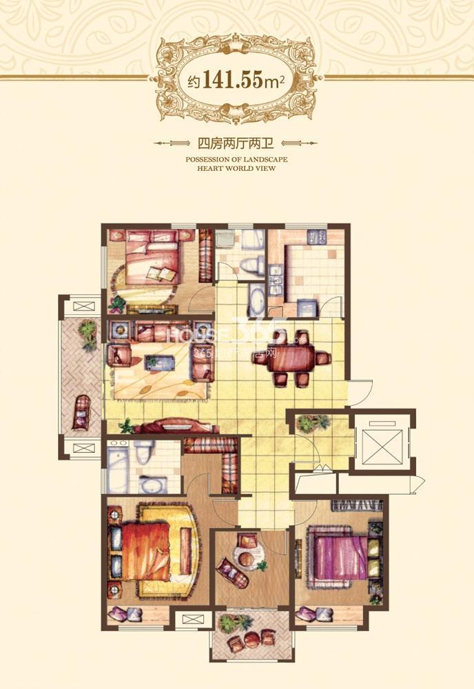 融侨观邸一期8#标准层A户型141.55平方米户型(6.19)