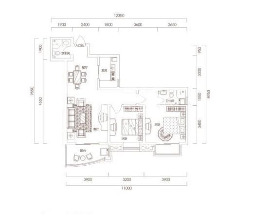 智慧新城1-5户型图2室2厅2卫1厨 91.84㎡