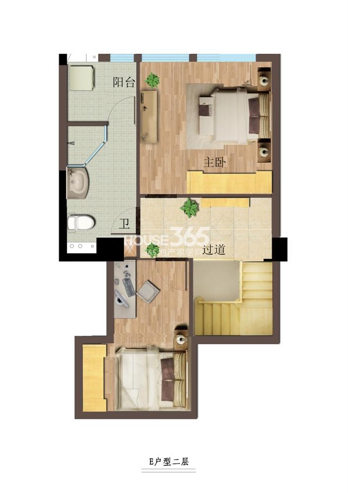 东方红郡公寓E户型二层