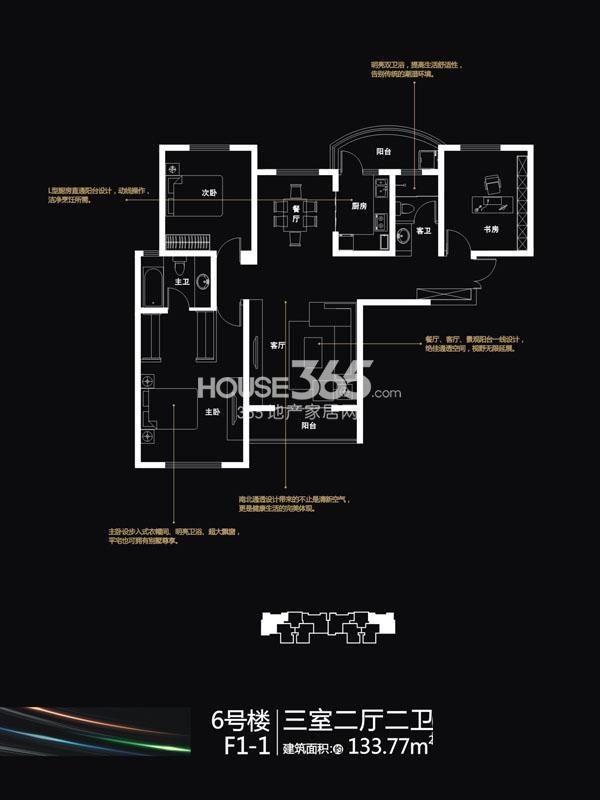 国润城6#楼F1-1户型3室2厅2卫1厨133.77㎡