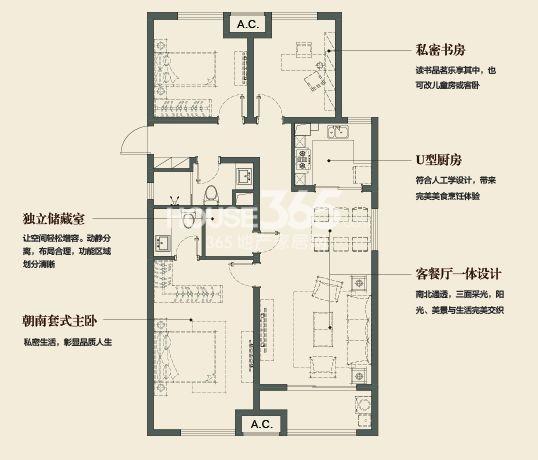 万科金域缇香126平方米户型(售空)