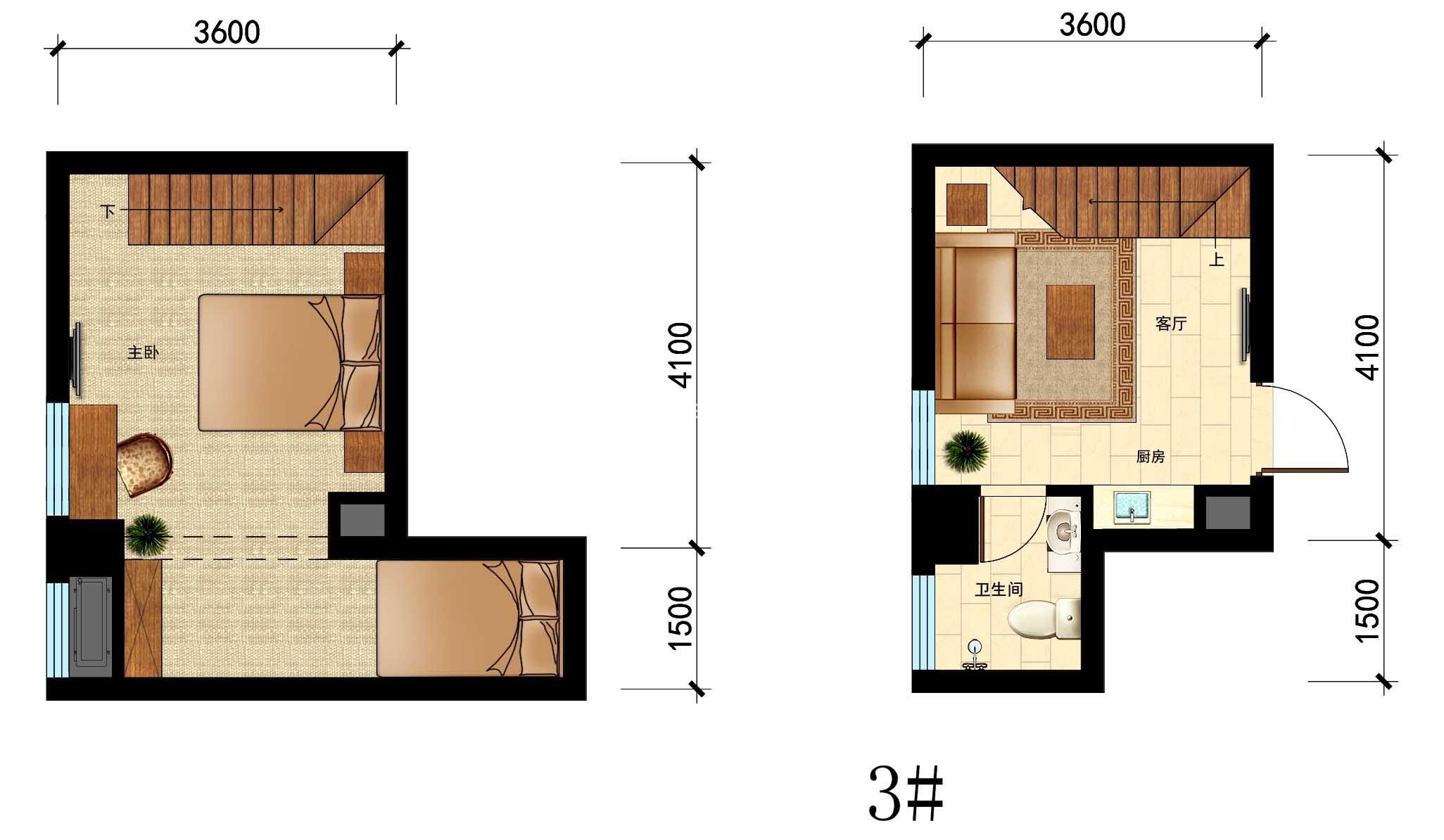 国瑞中心3#户型,25㎡,1室1厅1厨1卫
