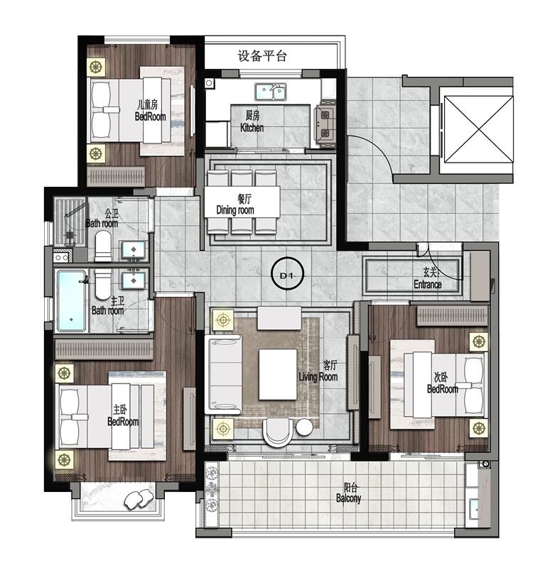 122㎡ 三房两厅两卫