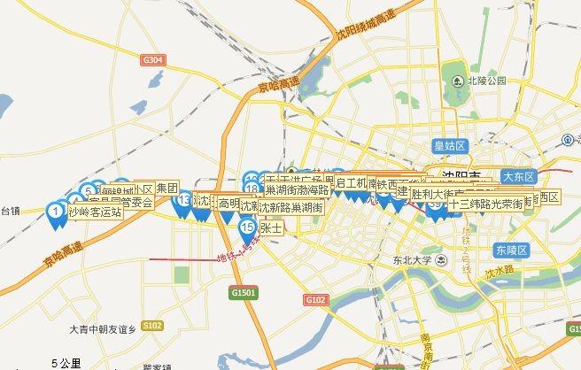 沈阳501路公交车线路分布