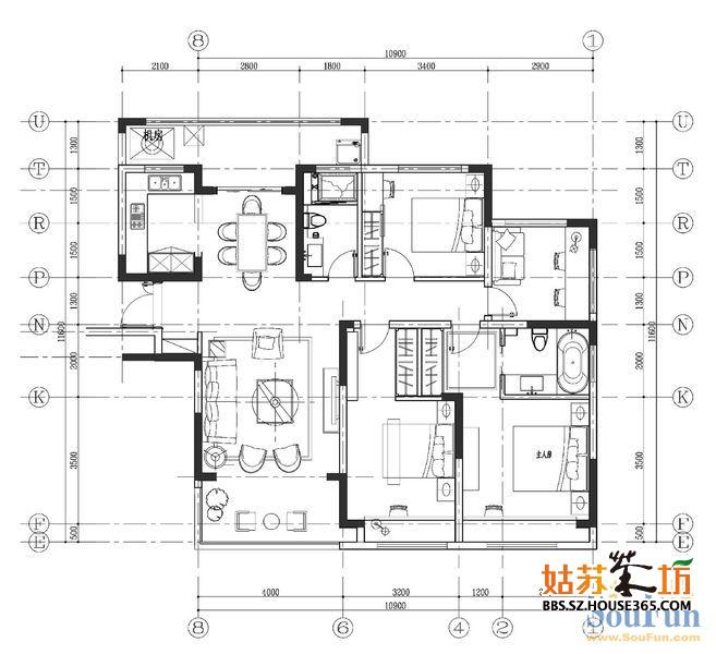 绿地华尔道名邸140平米户型尺寸图(cad)图分享,有需要