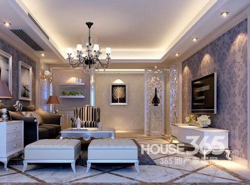 装修也很时尚-365; 欧式客厅墙纸效果图;