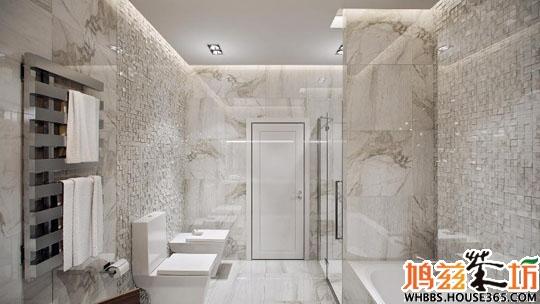大理石和玻璃的交叉搭配,加上灰白的天花板像云雾一样,增添浴室的