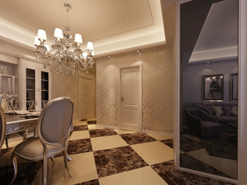 餐厅设计效果图:后现代的时尚搭配大气欧式元素,折射出低调的奢华.