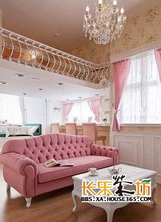 复式装修样板房之浪漫粉红色婚房   复式装修样板房之浪漫婚高清图片