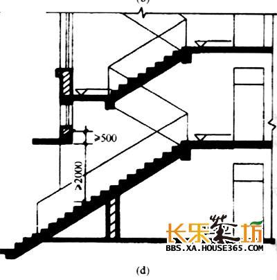 成角透视室外楼梯手绘图